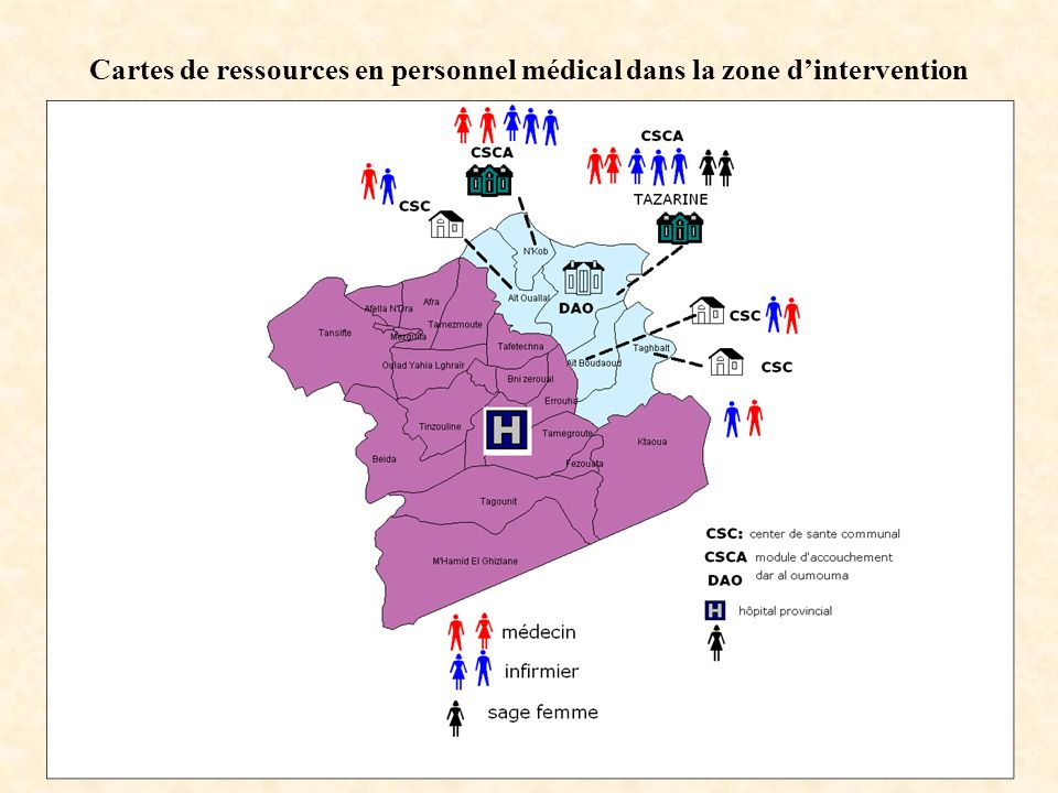 Cartes de ressources en personnel médical dans la zone d'intervention