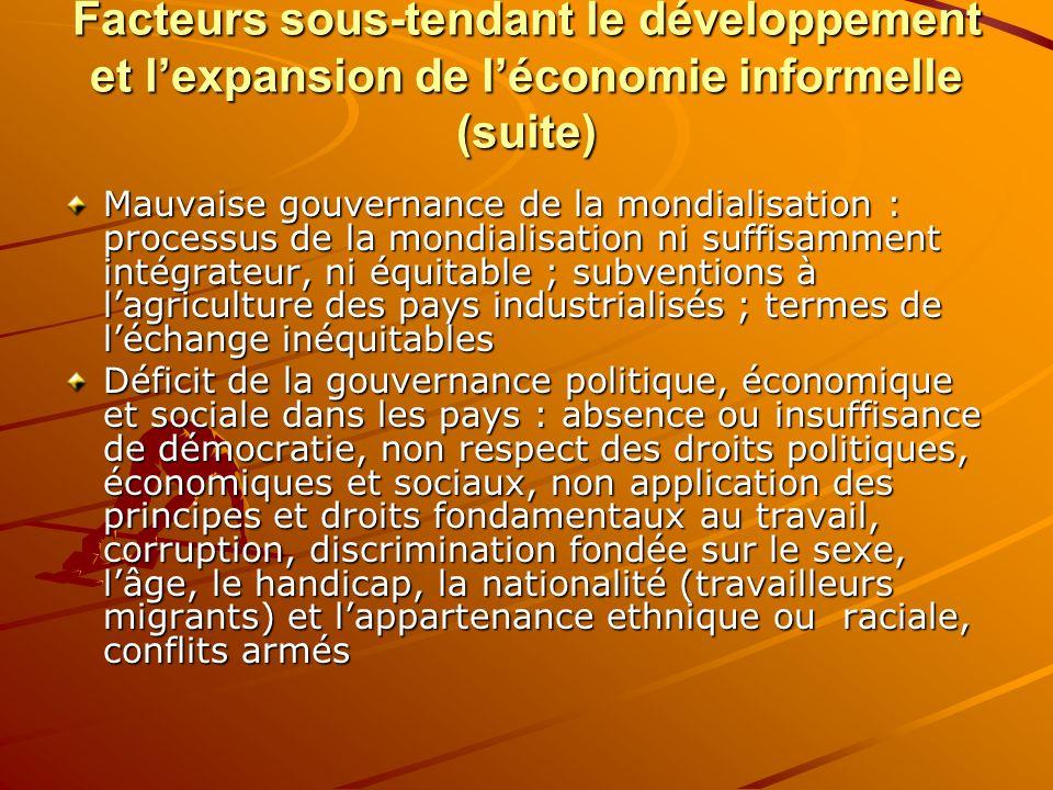 Facteurs sous-tendant le développement et l'expansion de l'économie informelle (suite)