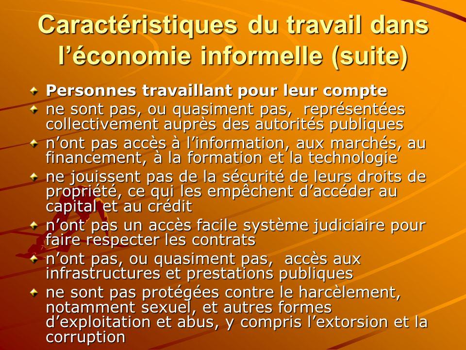 Caractéristiques du travail dans l'économie informelle (suite)