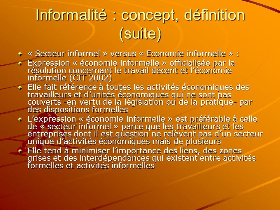 Informalité : concept, définition (suite)