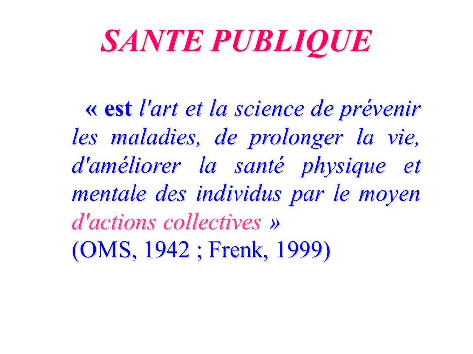 SANTE PUBLIQUE (OMS, 1942 ; Frenk, 1999)