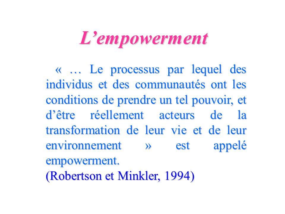 L'empowerment (Robertson et Minkler, 1994)