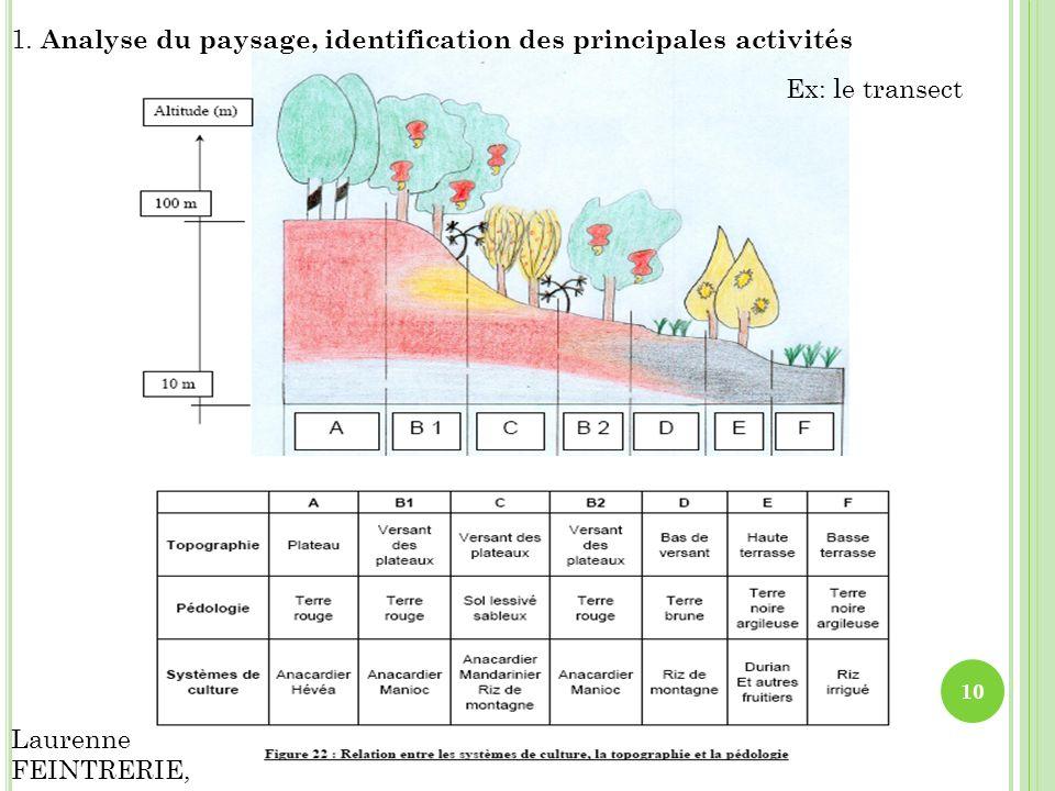 1. Analyse du paysage, identification des principales activités