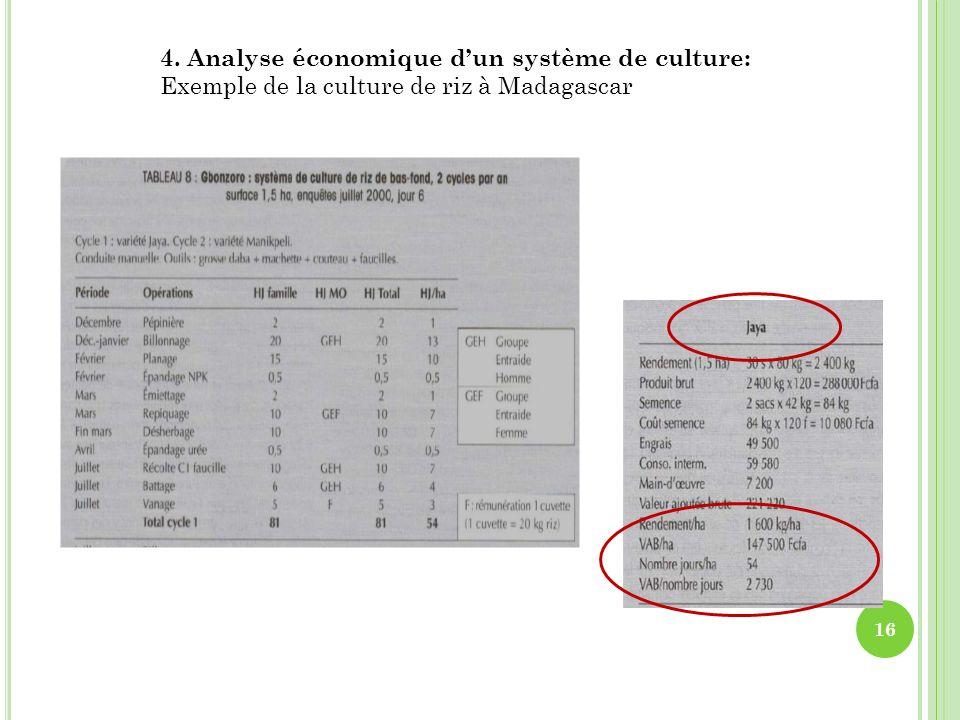 4. Analyse économique d'un système de culture: