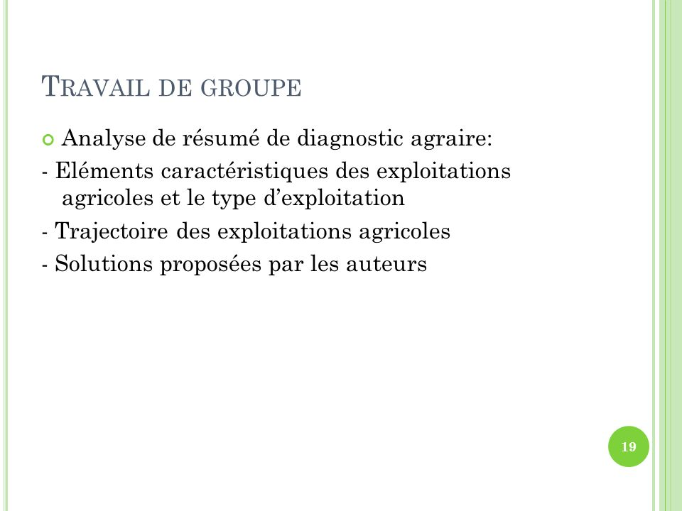 Travail de groupe Analyse de résumé de diagnostic agraire: