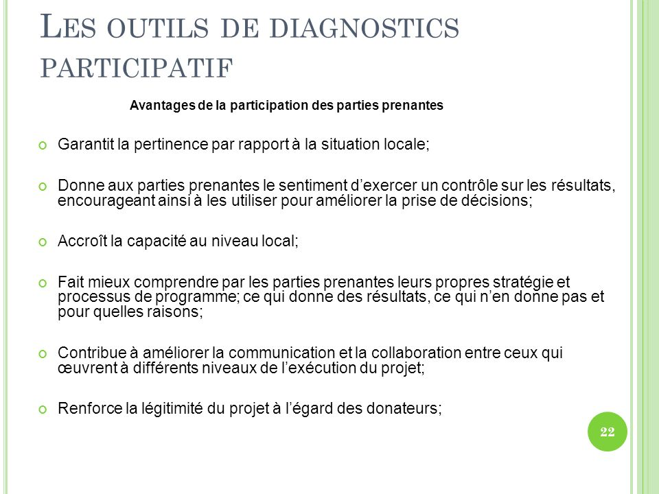 Les outils de diagnostics participatif