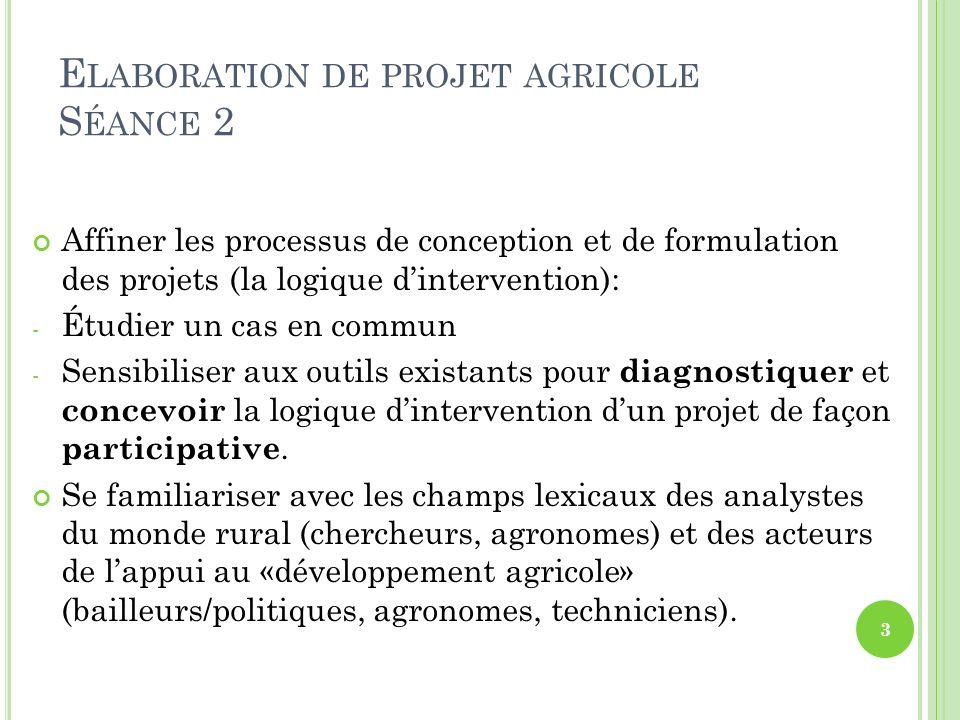 Elaboration de projet agricole Séance 2