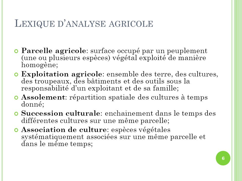 Lexique d'analyse agricole