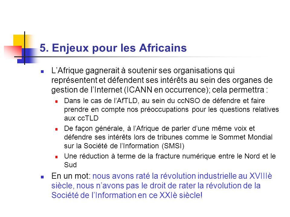 5. Enjeux pour les Africains