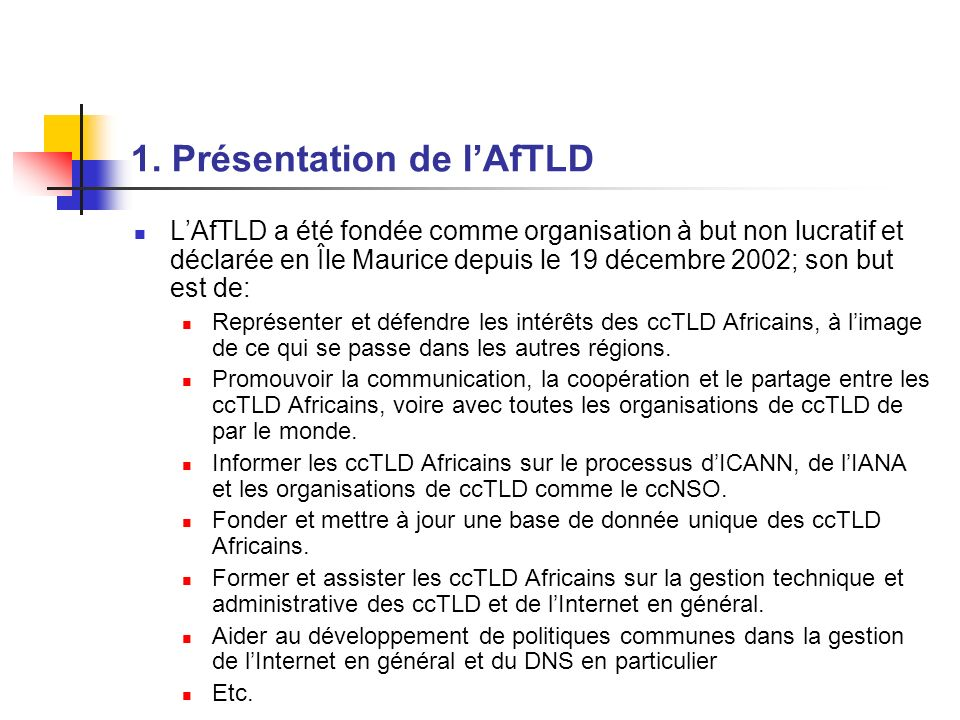 1. Présentation de l'AfTLD