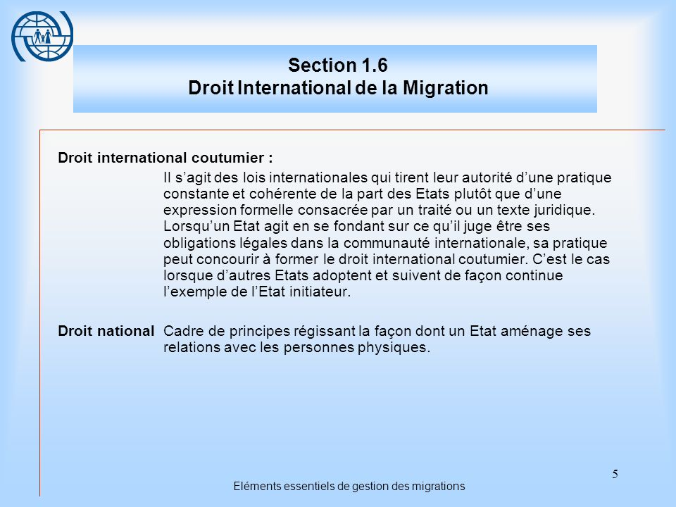 Section 1.6 Droit International de la Migration