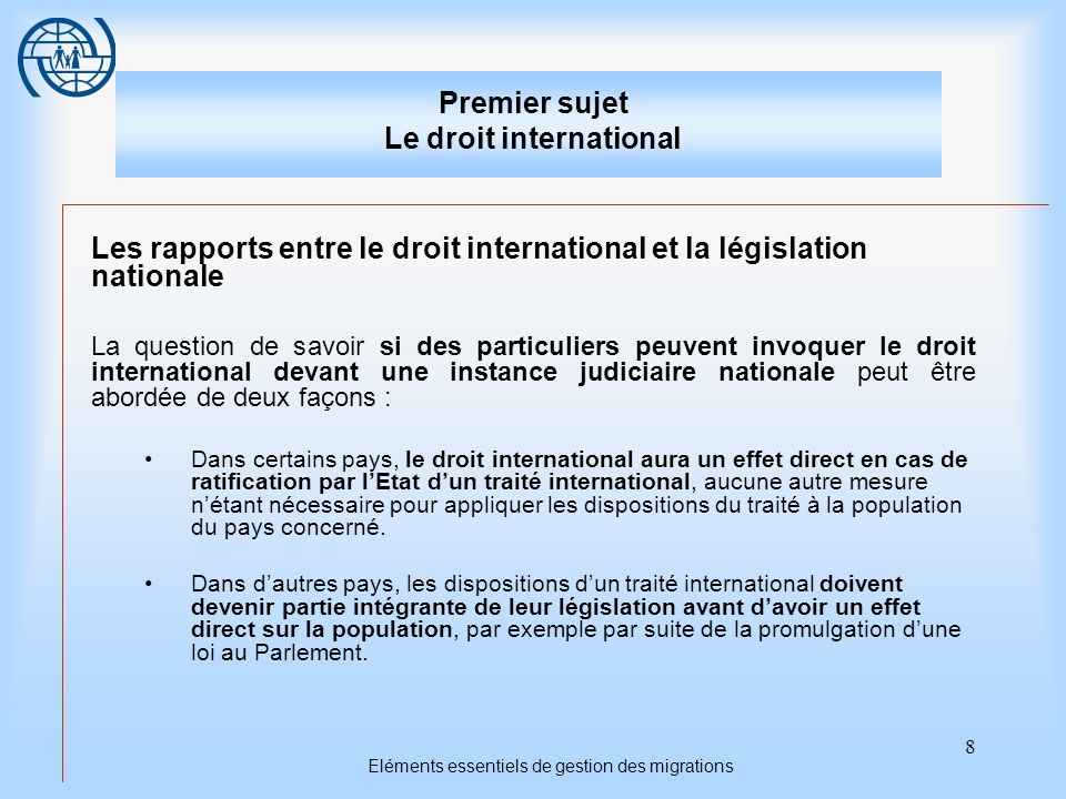 Premier sujet Le droit international