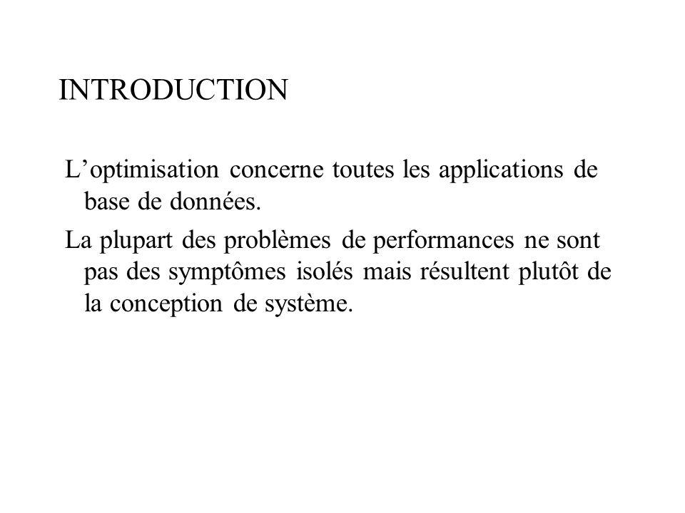 INTRODUCTION L'optimisation concerne toutes les applications de base de données.