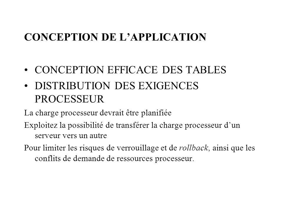 CONCEPTION DE L'APPLICATION