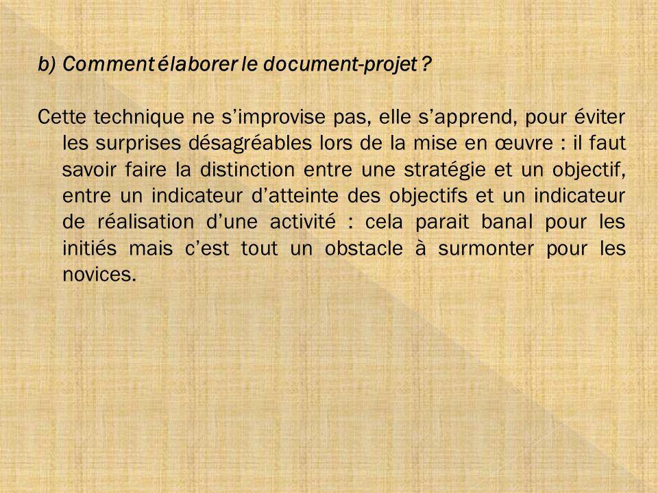 Comment élaborer le document-projet