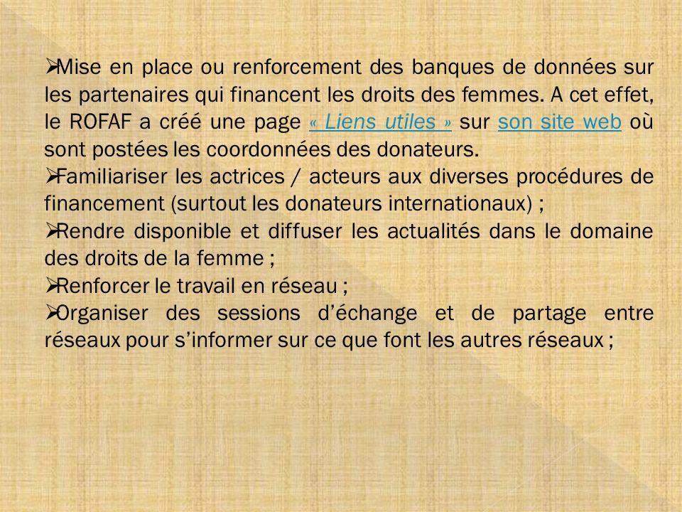 Mise en place ou renforcement des banques de données sur les partenaires qui financent les droits des femmes. A cet effet, le ROFAF a créé une page « Liens utiles » sur son site web où sont postées les coordonnées des donateurs.