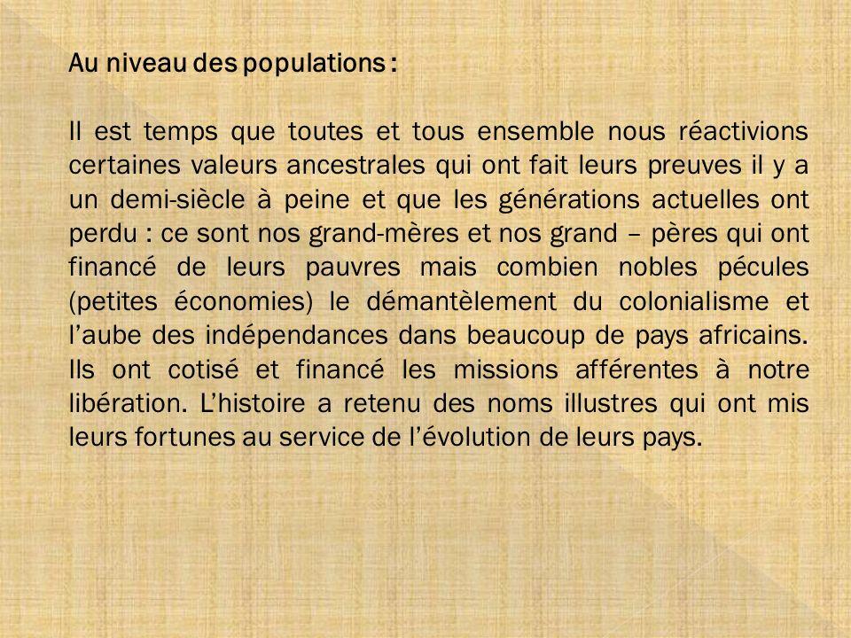 Au niveau des populations :