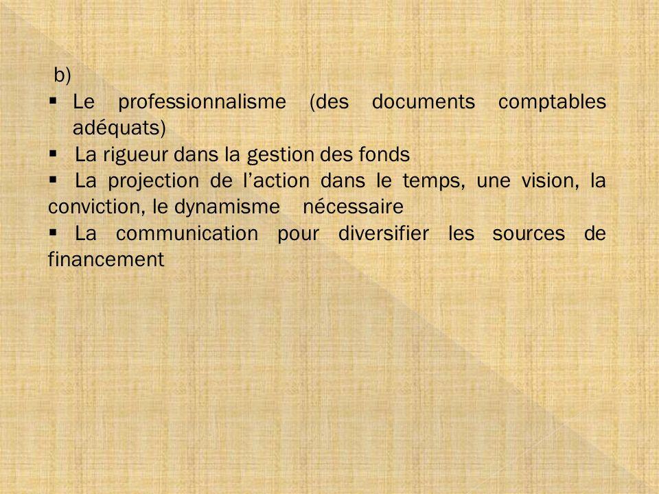 b) Le professionnalisme (des documents comptables adéquats) La rigueur dans la gestion des fonds.