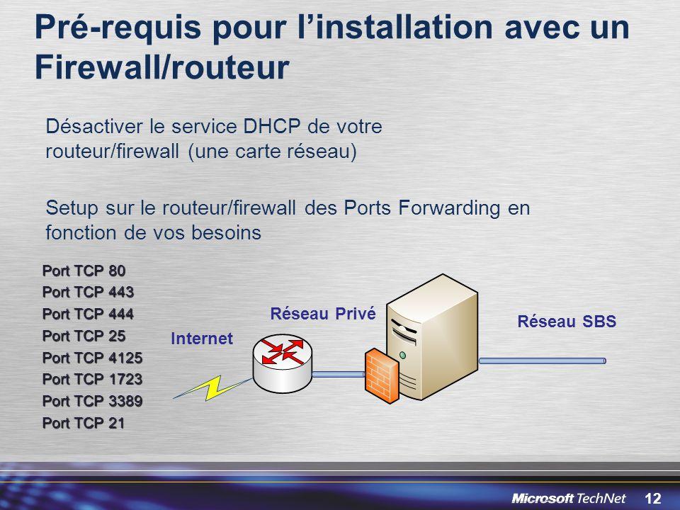 Pré-requis pour l'installation avec un Firewall/routeur