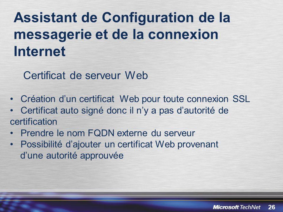 Assistant de Configuration de la messagerie et de la connexion Internet