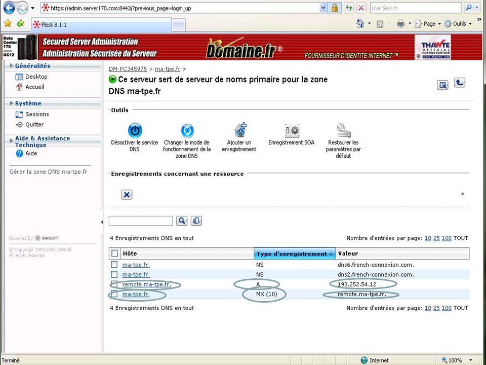 Pré requis pour l'utilisation d'Exchange avec Internet (conneceteur SMTP)