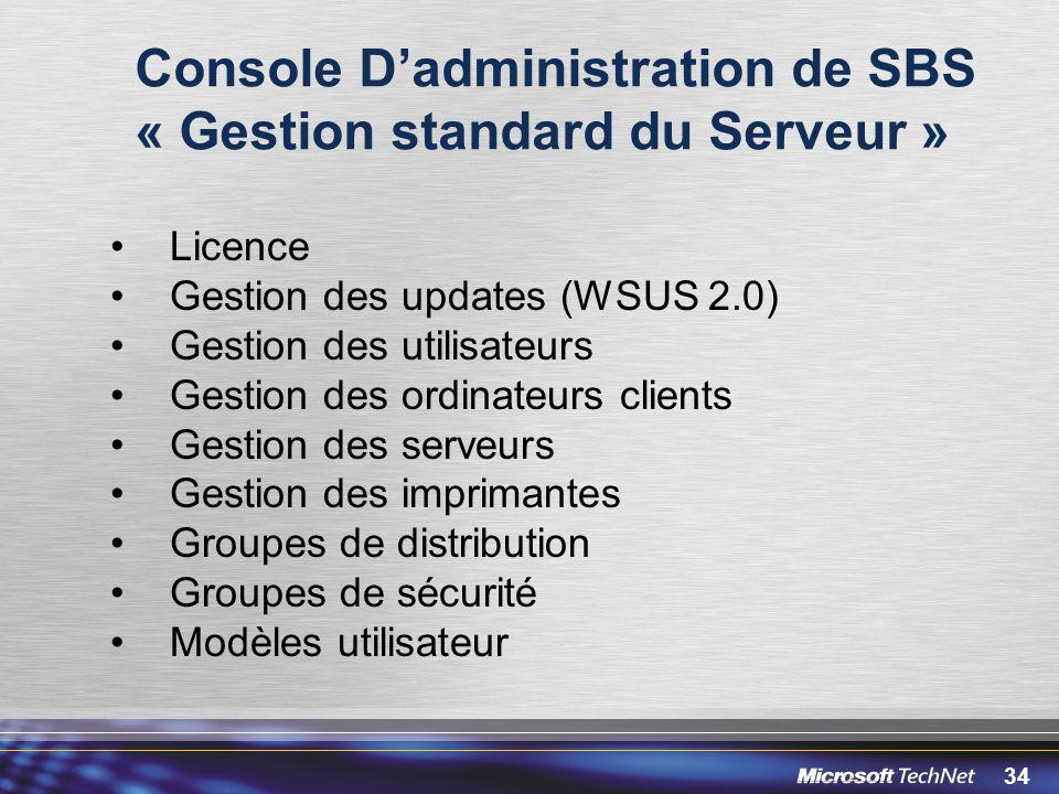 Console D'administration de SBS « Gestion standard du Serveur »