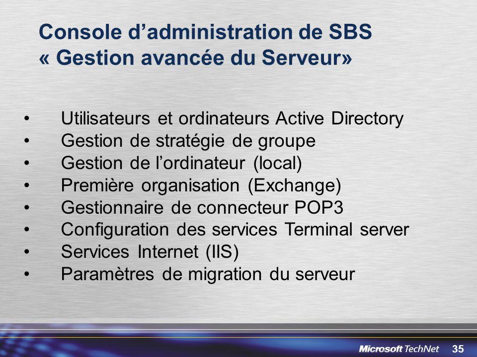 Console d'administration de SBS « Gestion avancée du Serveur»