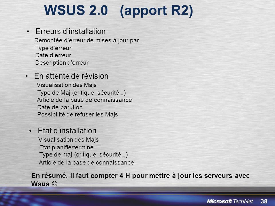 WSUS 2.0 (apport R2) Erreurs d'installation En attente de révision