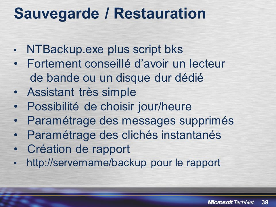 Sauvegarde / Restauration