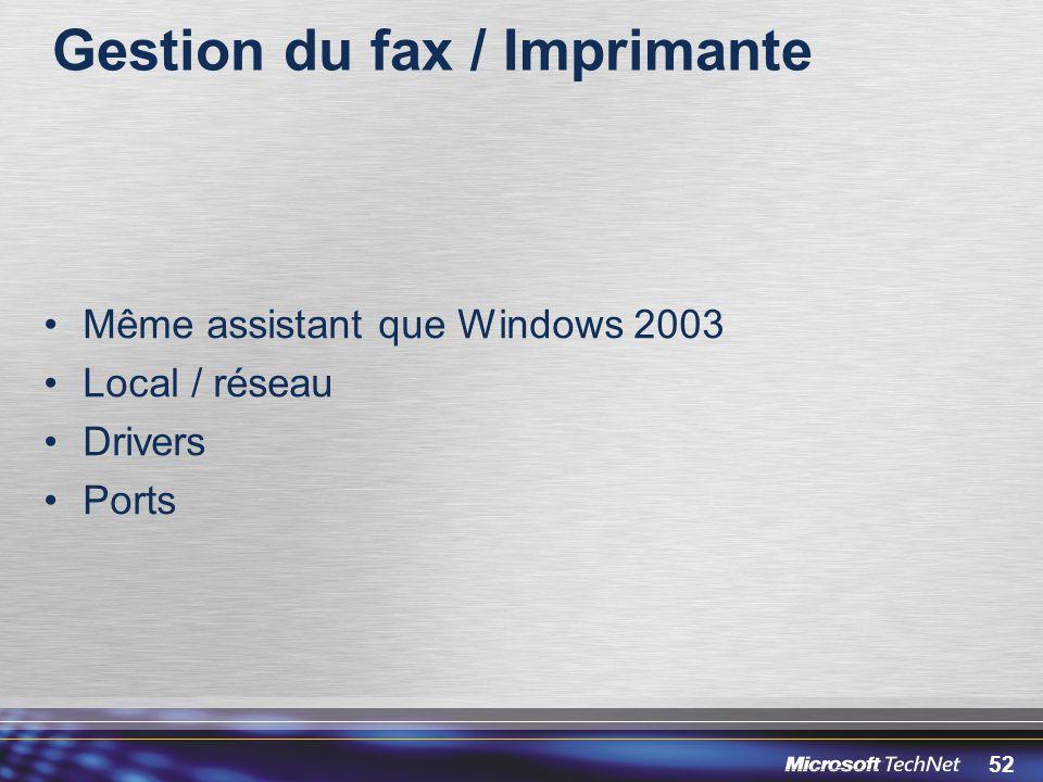 Gestion du fax / Imprimante