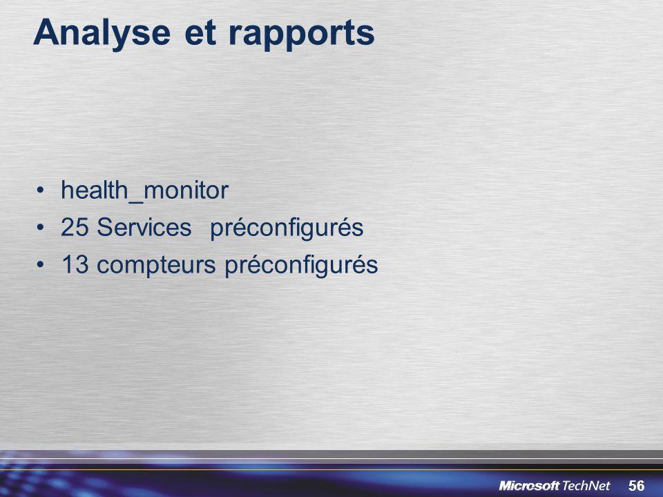 Analyse et rapports health_monitor 25 Services préconfigurés