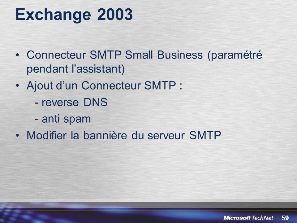 Exchange 2003 Connecteur SMTP Small Business (paramétré pendant l'assistant) Ajout d'un Connecteur SMTP :