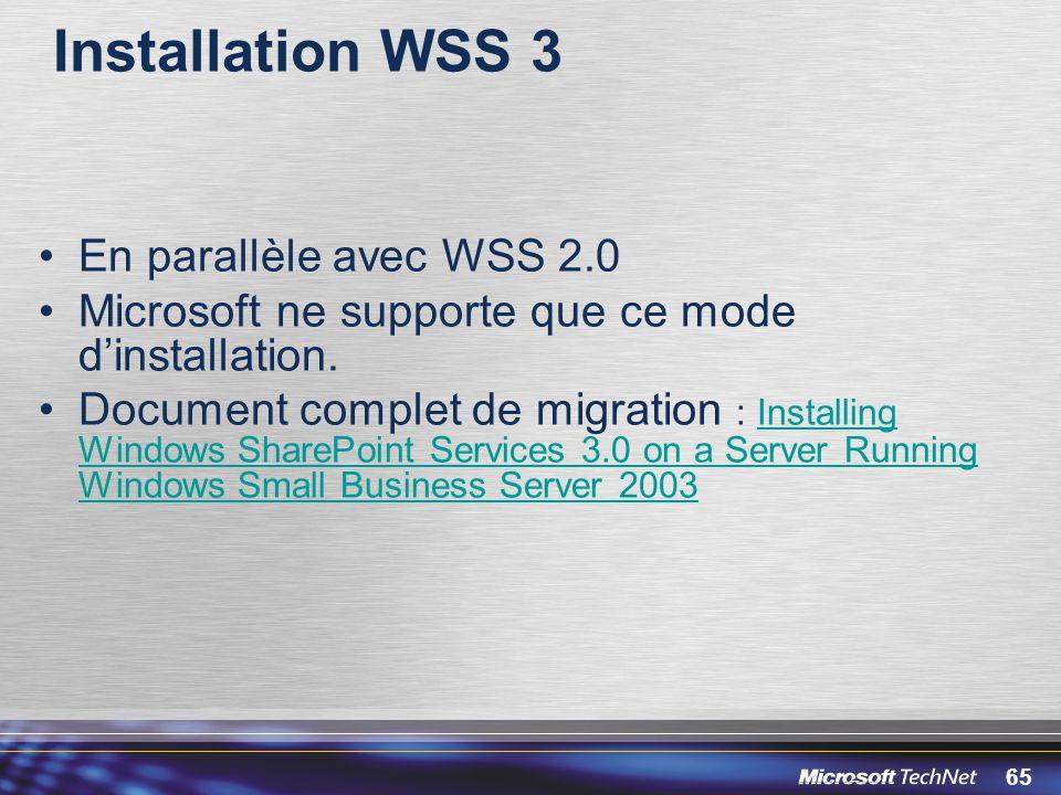 Installation WSS 3 En parallèle avec WSS 2.0