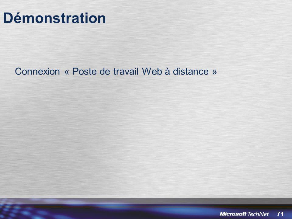 Démonstration Connexion « Poste de travail Web à distance »