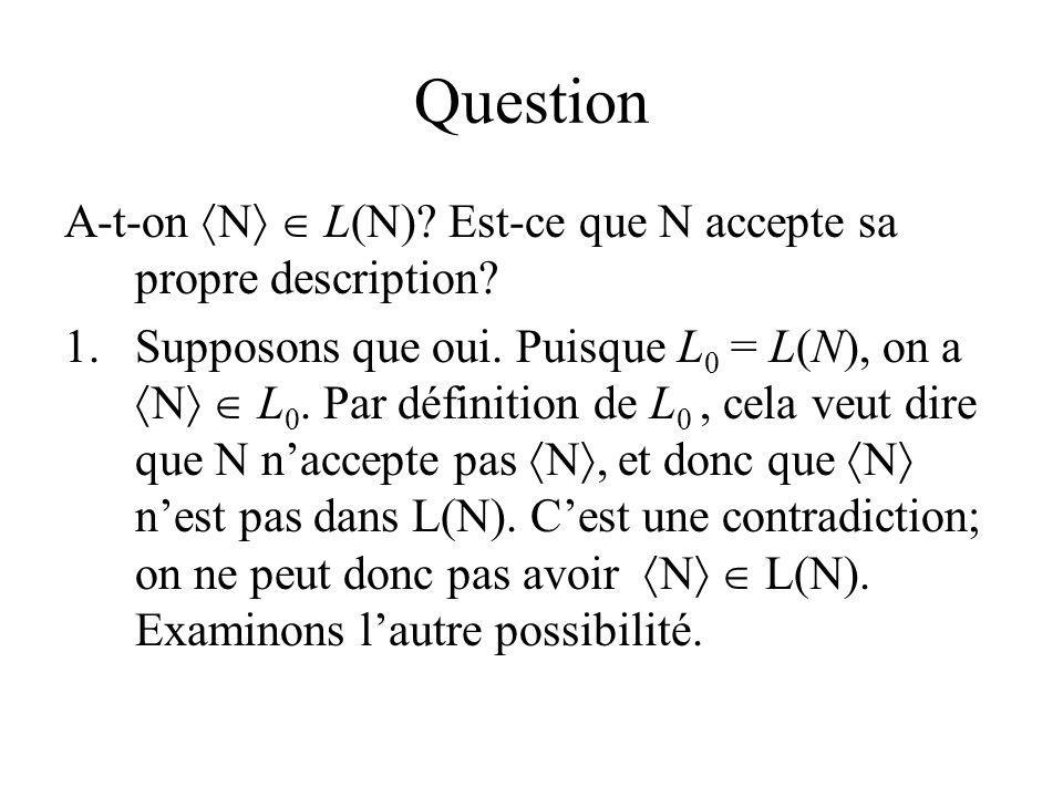 Question A-t-on N  L(N) Est-ce que N accepte sa propre description