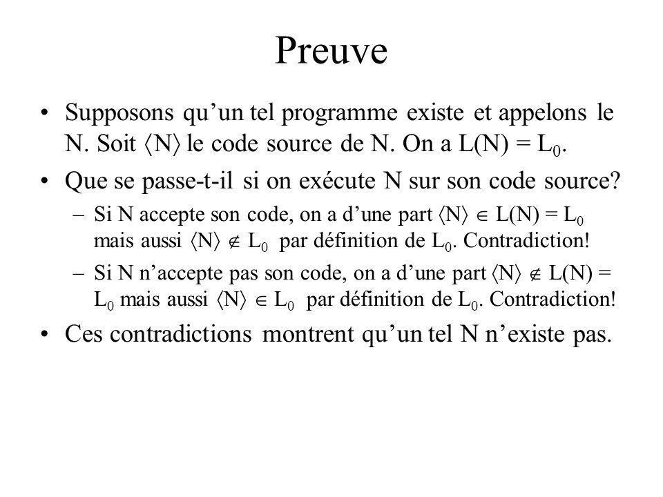 Preuve Supposons qu'un tel programme existe et appelons le N. Soit N le code source de N. On a L(N) = L0.