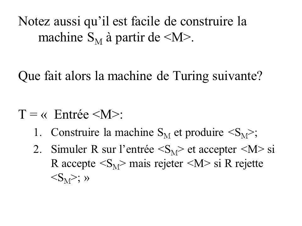 Que fait alors la machine de Turing suivante T = « Entrée <M>: