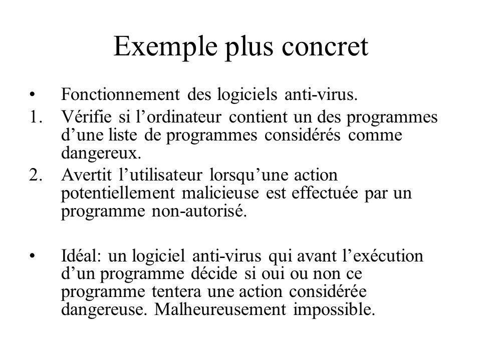 Exemple plus concret Fonctionnement des logiciels anti-virus.