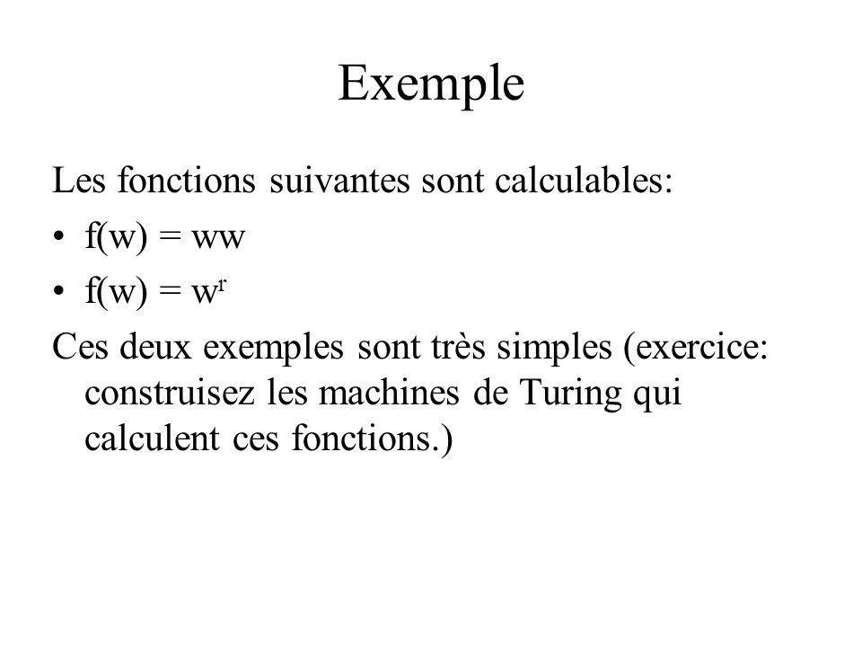 Exemple Les fonctions suivantes sont calculables: f(w) = ww f(w) = wr