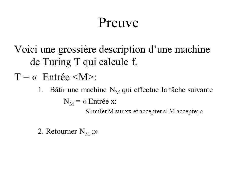 Preuve Voici une grossière description d'une machine de Turing T qui calcule f. T = « Entrée <M>: