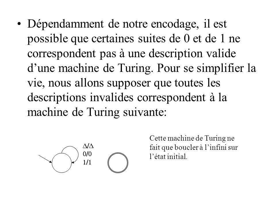 Dépendamment de notre encodage, il est possible que certaines suites de 0 et de 1 ne correspondent pas à une description valide d'une machine de Turing. Pour se simplifier la vie, nous allons supposer que toutes les descriptions invalides correspondent à la machine de Turing suivante: