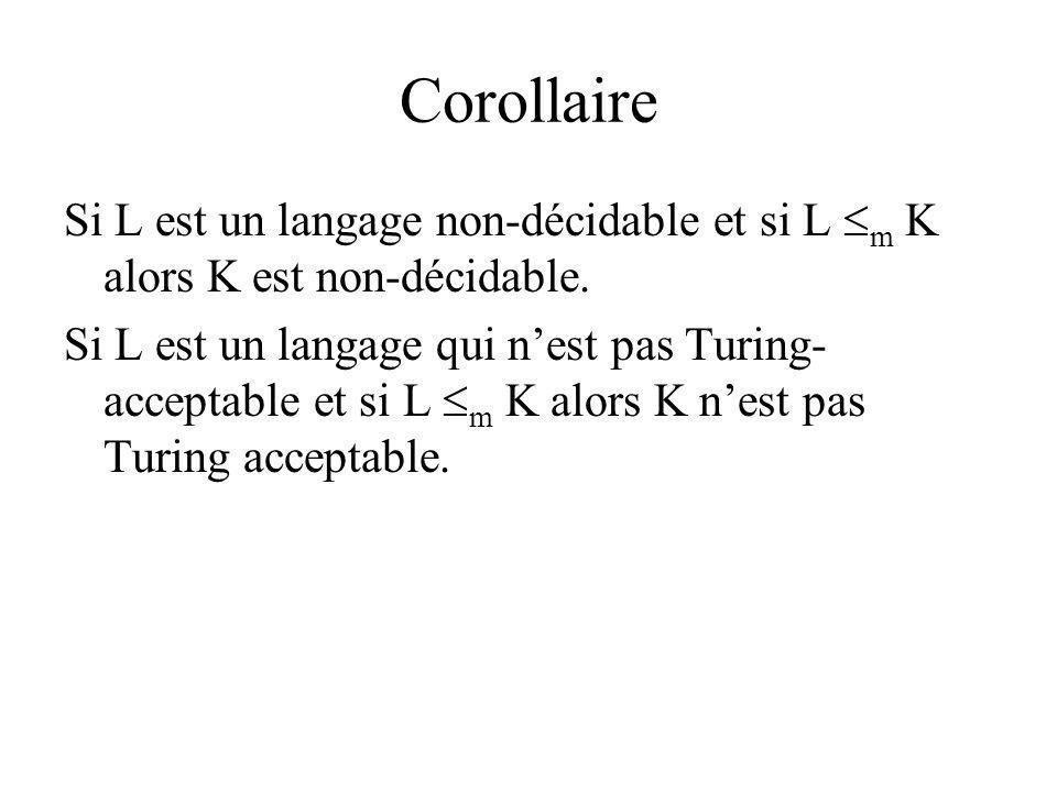 Corollaire Si L est un langage non-décidable et si L m K alors K est non-décidable.