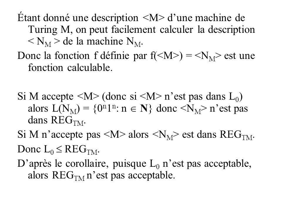 Étant donné une description <M> d'une machine de Turing M, on peut facilement calculer la description < NM > de la machine NM.