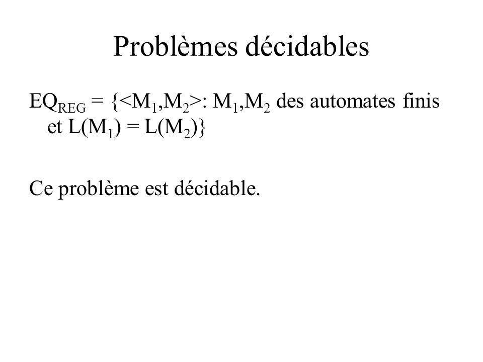 Problèmes décidables EQREG = {<M1,M2>: M1,M2 des automates finis et L(M1) = L(M2)} Ce problème est décidable.