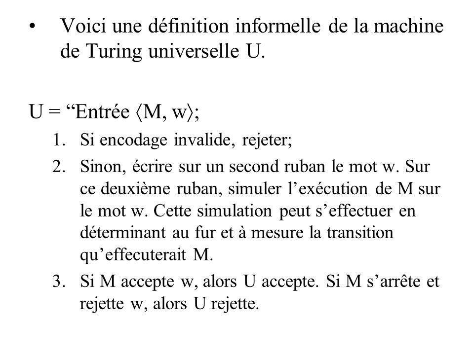 Voici une définition informelle de la machine de Turing universelle U.