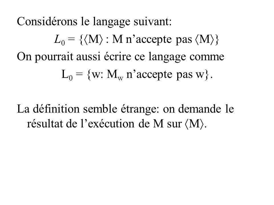 Considérons le langage suivant: L0 = {M : M n'accepte pas M}