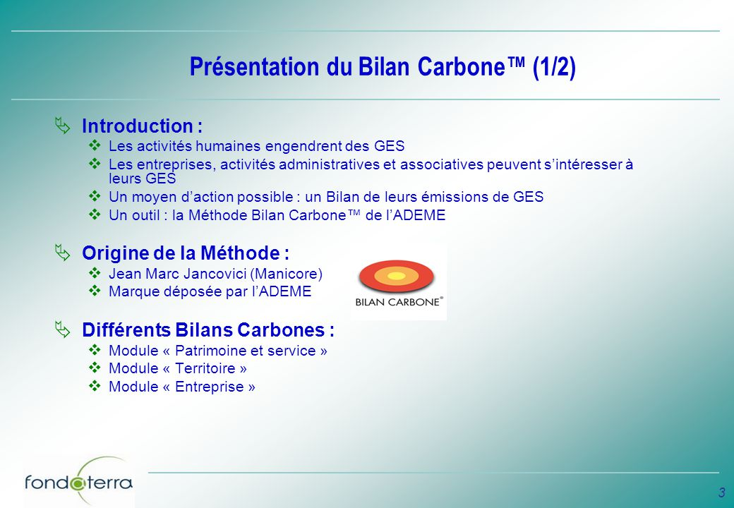 Présentation du Bilan Carbone™ (1/2)