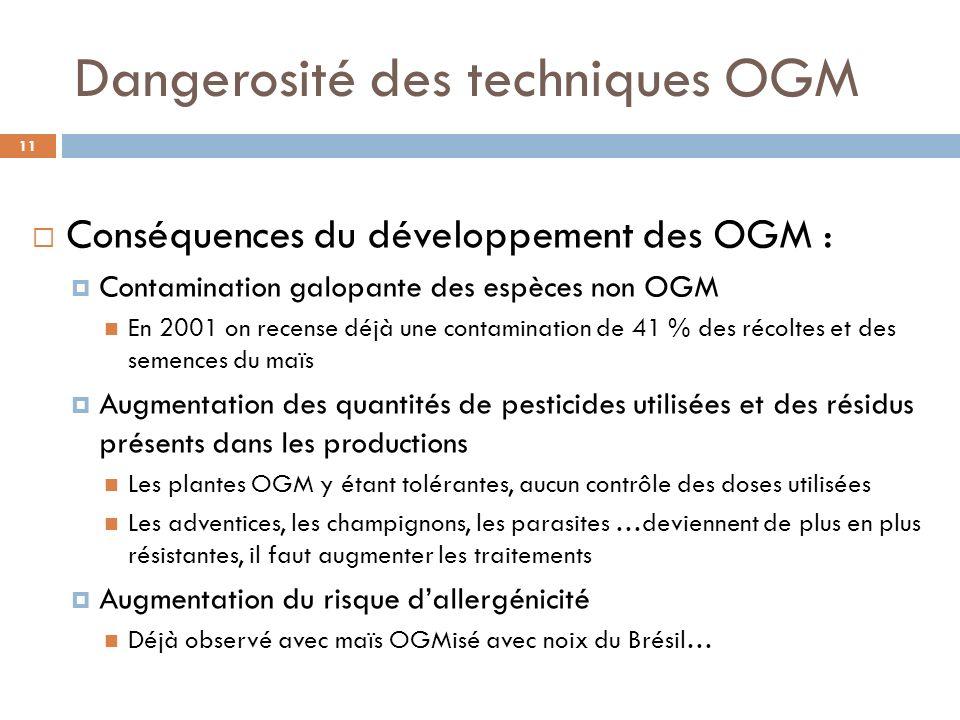 Dangerosité des techniques OGM