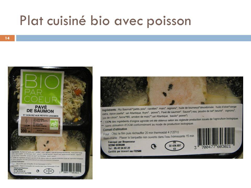 Plat cuisiné bio avec poisson