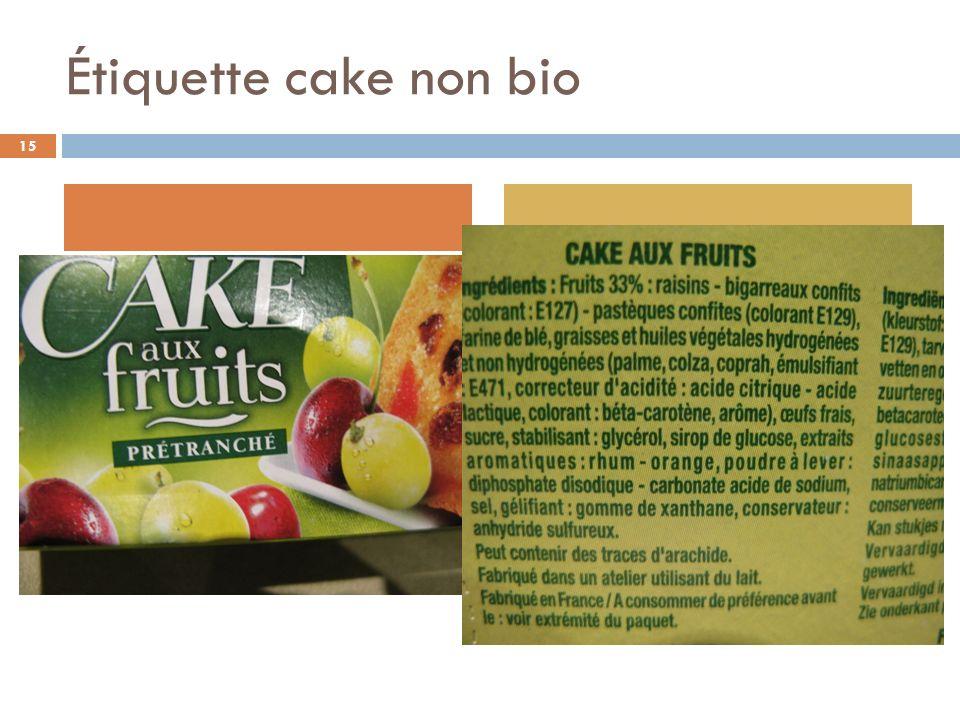 Étiquette cake non bio